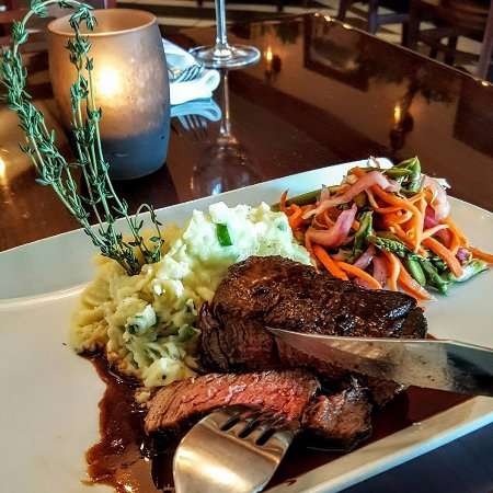 Middletown, CT: Filet Mignon responsibly sourced angus filet, pan seared, asparagus slaw, irish champs, cabernet