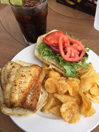 Stillwater, MN: Walleye sandwich, diablo shrimp in a spicy creole sauce, service and outdoor dining by the beaut