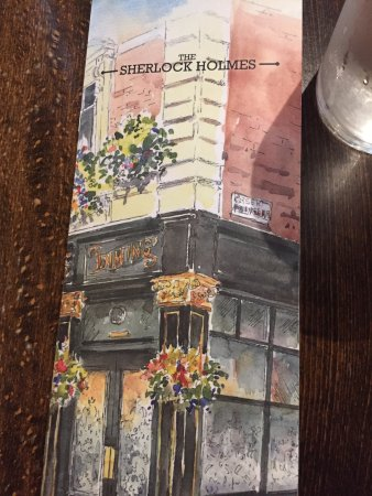 The Sherlock Holmes Public House & Restaurant : Menu with lots of great fare inside...