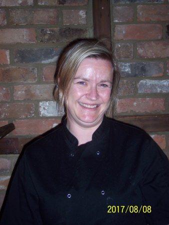Little Hallingbury, UK: Madame chef in a break from her kitchen