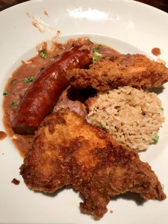 Zea Rotisserie & Grill: Red Beans and Sausage w Rice and Fried Chicken - SO GOOD