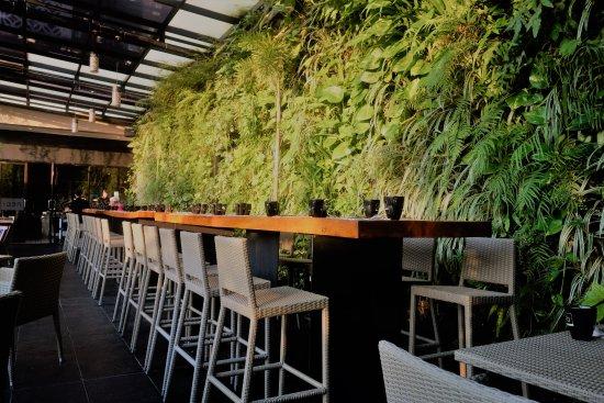 hotel neo awana yogyakarta green wall outdoor breakfast bar - Breakfast House Restaurant Wall Designs