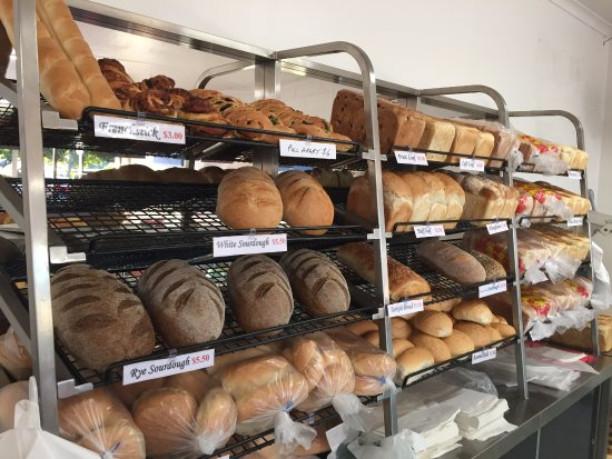 Dicky Beach, Australia: Our range of fresh breads including the very popular sourdoughs