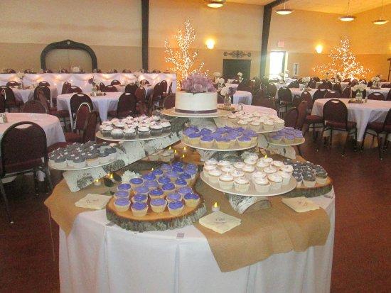 Manitowoc, WI: A fun cupcake display for a wedding reception!