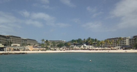 Cap Estate, Sta. Lucía: View of resort from the sea