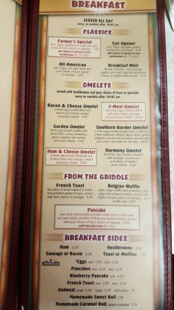 Harmony, MN: breakfast menu