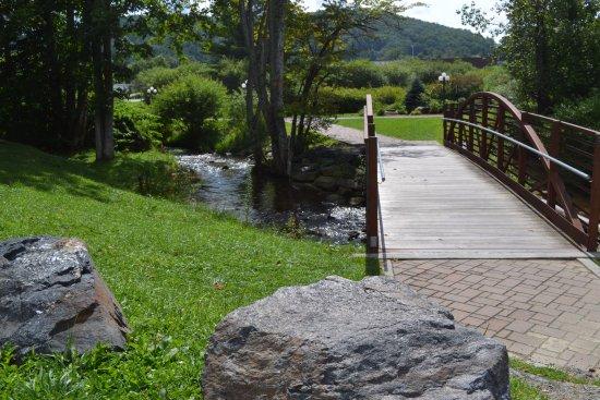 Newland, Carolina del Norte: Creek and bridge next to outdoor seating area