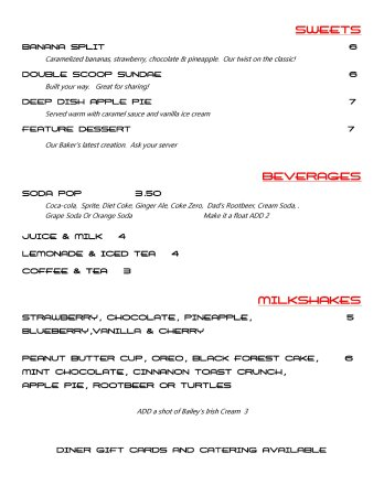 Fort Saskatchewan, Canada: Our Menu!