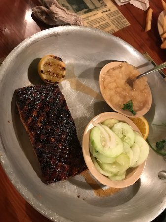 Ozark, MO: Grilled salmon lunch with applesauce and cucumber sides