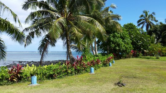 Upolu, Samoa: view from across the road. Giant clams to the left of the photo (not seen here)