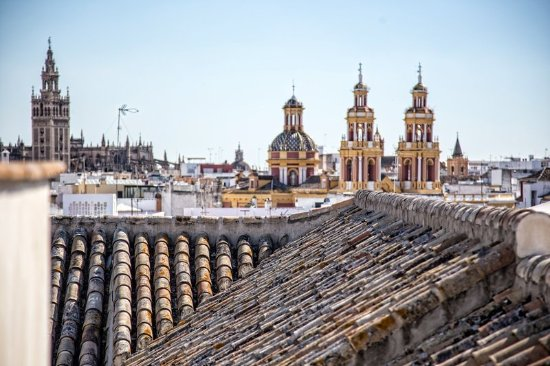 Hotel Palacio de Villapanes: Panoramic views of Seville from rooftop terrace