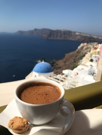 Melenio: Traditional greek coffee with THE absolute view to look at!
