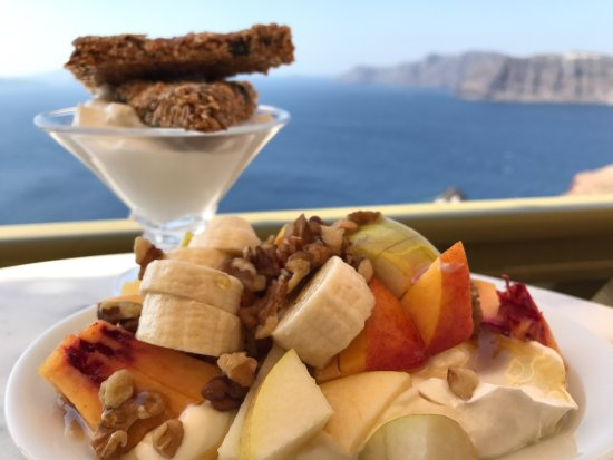 Melenio: Pasteli, fruits, honey, walnuts and greek yoghurt