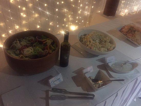 Laem Set, Thailand: Fire Show Night Buffet - green salad, potato salad