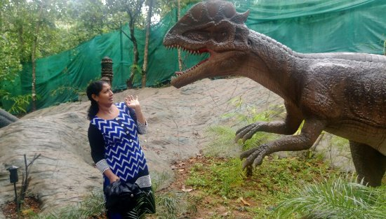 Vellamunda, Índia: The dinosaurs in the dino park are interactive and it moves and roars while we pass by ....