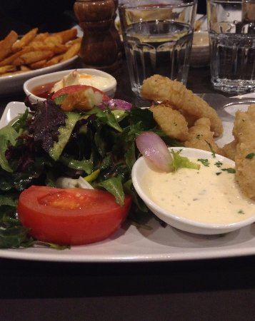 Hornsby, Australia: crispy squid, salad,