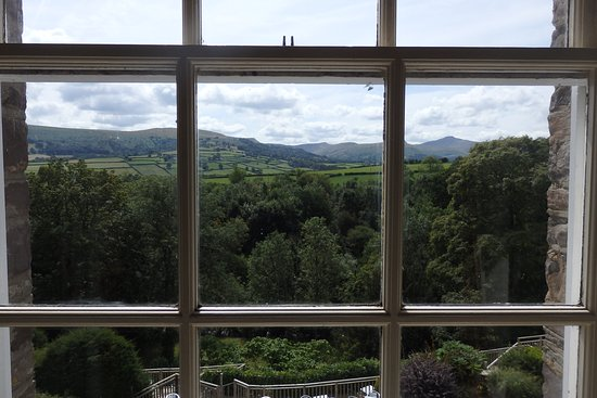 Llanhamlach, UK: View from one of the two windows in our double-aspect suite on the second floor
