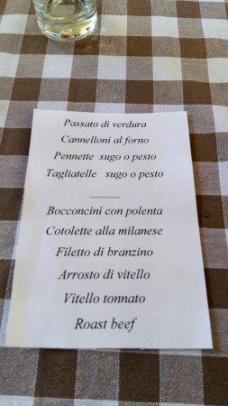 Nebbiuno, Italia: Un menù