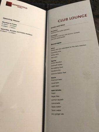 Scarborough, Australia: Evening drink menu (Club lounge)