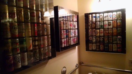 Columbia, MO: Mens bathroom - wall art of beer cans!