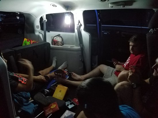 Eden, NC: Pre-movie games in the van! Remember to bring a hanging light.