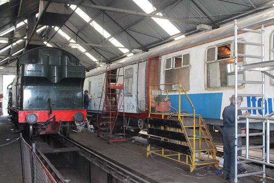Shepton Mallet, UK: Inside the engine shed - restoration taking place