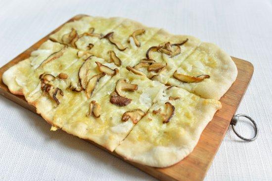 Metro Manila, Philippines: Mushroom & Swiss Flammekeuche (Fresh button mushrooms, swiss cheese, onions, creme fraiche)