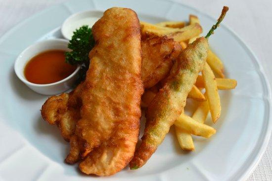 Metro Manila, Philippines: Beer-Battered Fish & Chips (Beer-battered fish fillets & green chili finger, steak fries...)