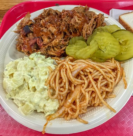 Junction, TX: Pulled pork with potato salad & spicy cold spaghetti
