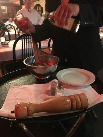 Allen Park, MI: Charles preparing salad at my table