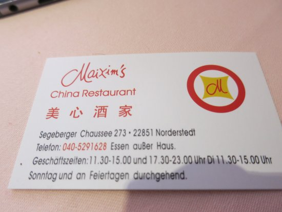 Visitenkarte Picture Of Maixim S China Restaurant