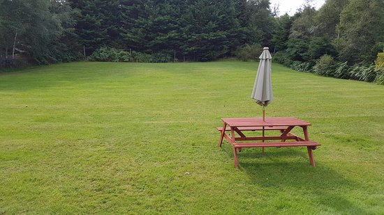 Torcroft Lodges: View from front door - each lodge has its own outdoor table