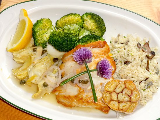 Gustavus, AK: White King Salmon with Buttered Broccoli, Pickled Artichokes, Steamed Garlic & Rice with Wild Mu