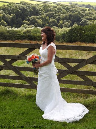 Umberleigh, UK: The bride, with some of the wonderful view