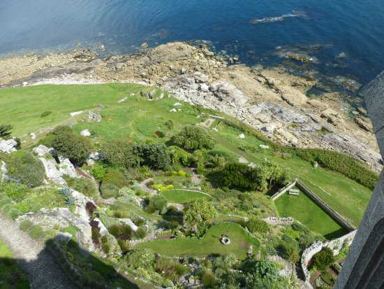 Marazion, UK: View of some of the gardens from castle