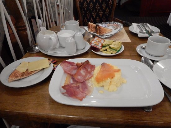 The Central Hotel - Donegal: Breakfast--Scrambled Eggs, Smoked Salmon and Irish Bacon