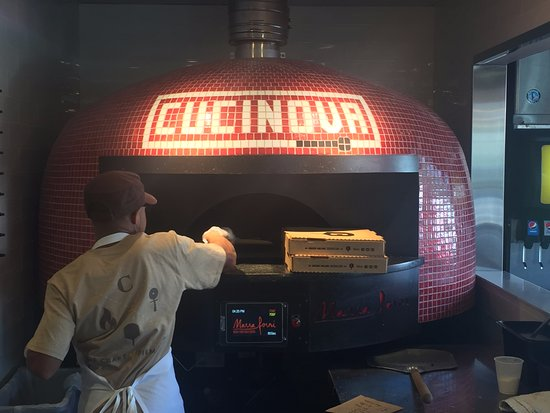 Westerville, OH: Our pizzas going into the oven.