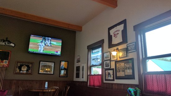 Skykomish, WA: They had two games (NFL + MLB) going at the same time.