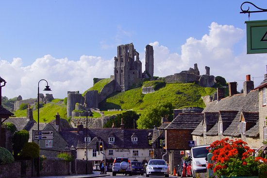 Corfe Castle seen from the village