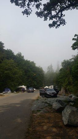 Saltwater State Park: view from the bathroom in smoky air conditions