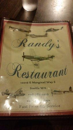 Randy's Restaurant: The menu front