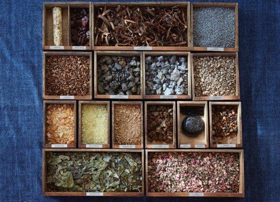 Berkeley, CA: Drawers of Botanical materials used for perfumery (photo by Aya Brackett)