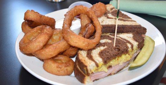 Silverton, OR: Reuben Sandwich with onion rings