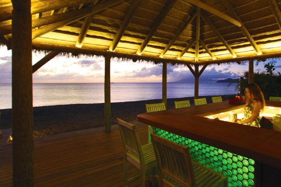 Nevis: Our private beach bar at sunset