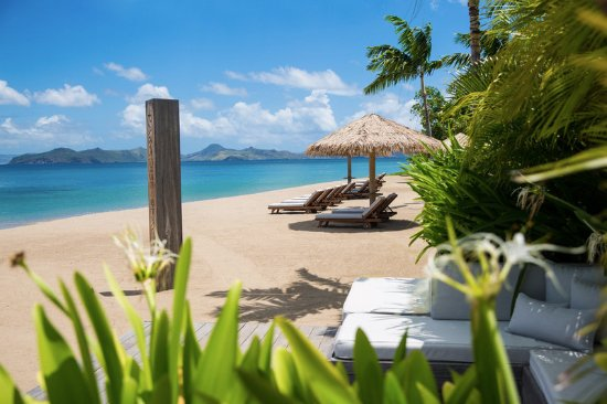 Nevis: The private beach, steps from the villa