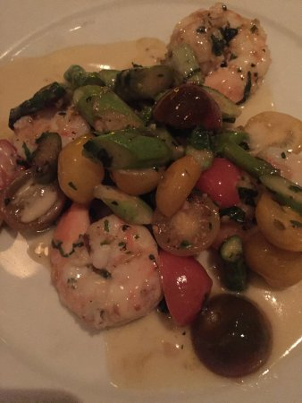 Addison, TX: Seared TX U12 Shrimp, Asparagus, Heirloom Tomatoes and Chardonnay and Basil