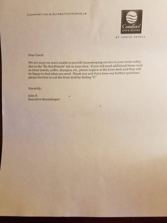 Comfort Inn & Suites McMinnville: Note from housekeeping