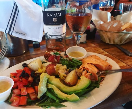 Delicious warm salmon salad with lemon ginger vinaigrette at Bistro 108 in La Grange, Texas