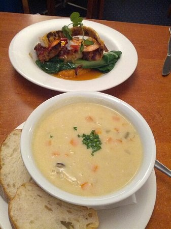 Scarborough, Australia: seafood chowder and pork belly dish