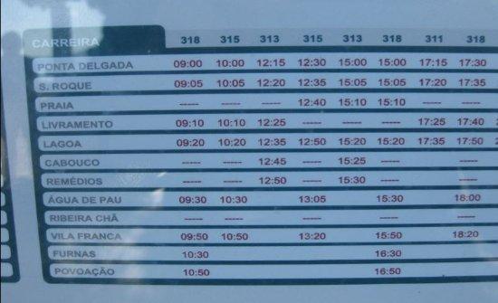Sonntags-Fahrplan von Ponta Delgada bis Agua de Pau 30 Minuten